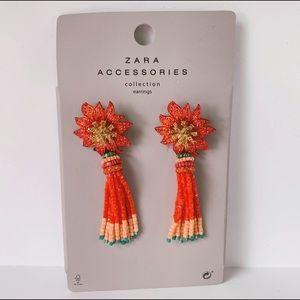 Zara Beaded Flower Crystal Multi Strand Earrings